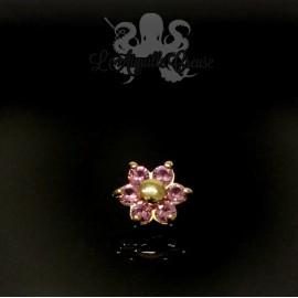 Fleur en Or 18 carats & Saphirs roses, pour bijou en 1.6 mm