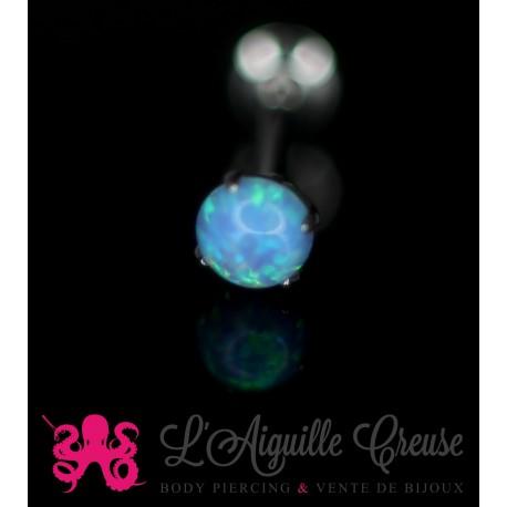 Opale synthétique & labret en acier chirurgical 316L