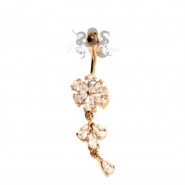 Bijou de nombril Fleur plaqué or rose 14 carats