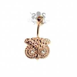 Bijou de nombril Hibou plaqué or rose 14 carats