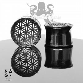 Paire de plugs Fleur de Vie en argent plaqué Ruthénium- NAGABodyJewelry