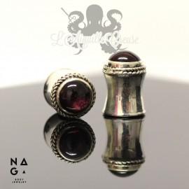 Paire de plugs en argent 925 & Garnet- NAGABodyJewelry