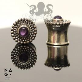 Paire de plugs en argent 925 & Améthyste - NAGABodyJewelry
