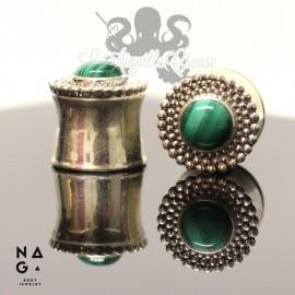 Paire de plugs en argent 925 & Malachite - NAGABodyJewelry