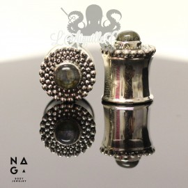 Paire de plugs en argent 925 & Labradorite - NAGABodyJewelry