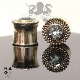 Paire de plugs en argent 925 & Topaze - NAGABodyJewelry