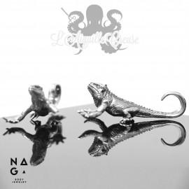 Paire de poids Lézards en argent 925 - NAGABodyJewelry