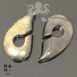 Paire de poids en Obsidienne gold - NAGABodyJewelry