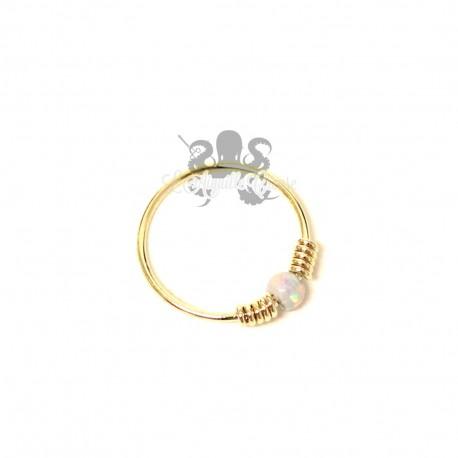 Anneau de narine en Or jaune 9 carats & opale synthétique