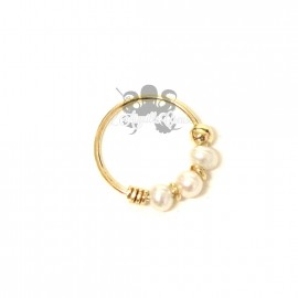 Anneau de narine en Or jaune 9 carats & perles véritables