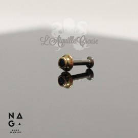 Saphir et or jaune 18 carats threadless - NAGA BODY JEWELRY