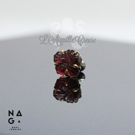Tourmaline et or jaune 18 carats threadless - NAGA BODY JEWELRY