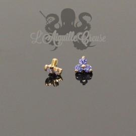 Trèfle en Or 18 carats & Saphirs, pour bijou en 1.2 mm