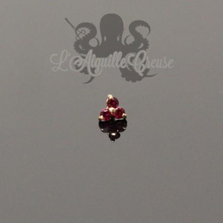 Trèfle en Or 18 carats & Rubis, pour bijou en 1 ou 1.2 mm