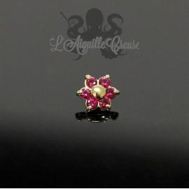 Fleur en Or 18 carats & Rubis, pour bijou en 1 ou 1.2 mm