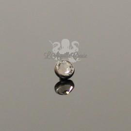 Cabochon en titane orné d'un cristal Swarovski de 3 mm pour 1 ou 1.2 mm