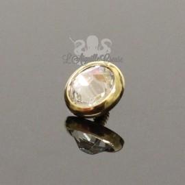 Accessoire pour bijou en 1.6 mm en acier chirurgical pvd or & cristal Swarovski - 5 mm