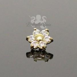 Fleur en Or 18 carats & cristaux Swarovski, pour bijou en 1 ou 1.2 mm