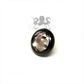 Accessoire pour bijou en 1.6 mm en acier chirurgical pvd noir & cristal Swarovski - 4 mm