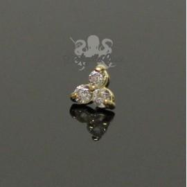 Trèfle en Or 18 carats & Zircons, pour bijou en 1 ou 1.2 mm
