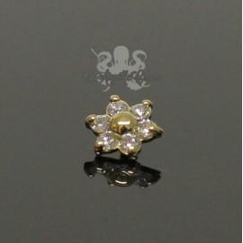 Fleur en Or 18 carats & Diamants, pour bijou en 1 ou 1.2 mm