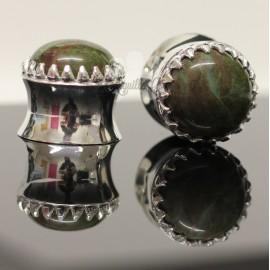 Plug en Bronze plaqué Argent et Jade Africaine