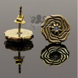 Paire de boucles d'oreilles Fleur bronze & Pierre de Lune