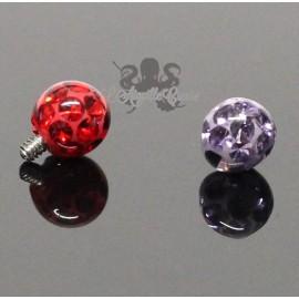 Accessoire bille multicristal pour bijou en 1.6 mm en acier chirurgical - 4 mm