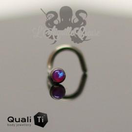 Stud en titane orné d'une opale synthétique - QUALITI