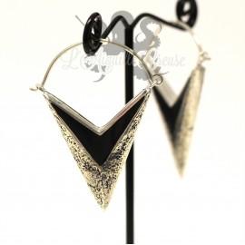 Paire de boucles d'oreilles plaqué Argent 925 & Résine