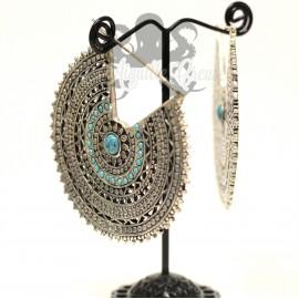 Maxi paire de boucles d'oreilles plaqué Argent 925 & Turquoise