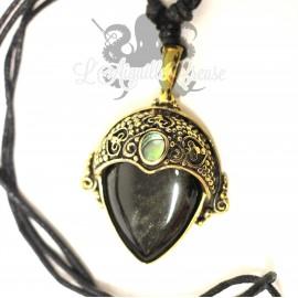 Collier en bronze, Obsidienne dorée & abalone