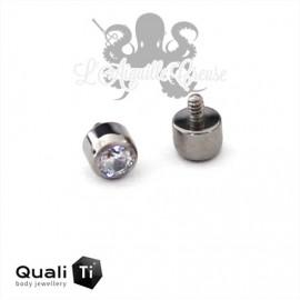 Accessoire QualiTi & zircon blanc de 2.5 mm en titane - pour 1.2 mm