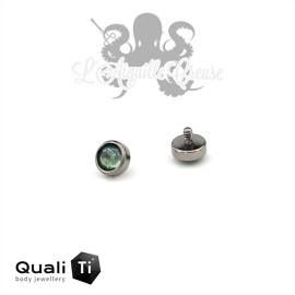 Accessoire QualiTi en zircon vert clair et titane - pour 1.2 mm