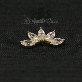 Marquise en Or 18 carats & zircon, pour bijou en 1 ou 1.2 mm