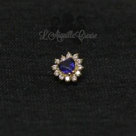 Coeur en Or 18 carats & zircon Swarovski, pour bijou en 1 ou 1.2 mm