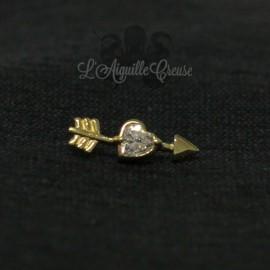 Fléche en Or 18 carats & zircon Swarovski, pour bijou en 1 ou 1.2 mm