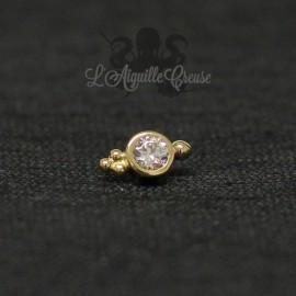Accessoire en Or 18 carats & zircon Swarovski, pour bijou en 1 ou 1.2 mm(G18K-IASGN-16)