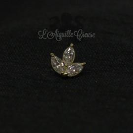 Marquise en Or 18 carats & zircon Swarovski, pour bijou en 1 ou 1.2 mm
