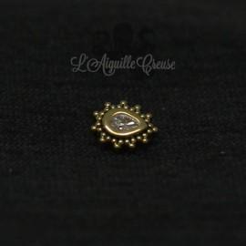 Marquise en Or 18 carats & zircon Swarovski, pour bijou en 1 ou 1.2 mm(G18K-IASGN-38)