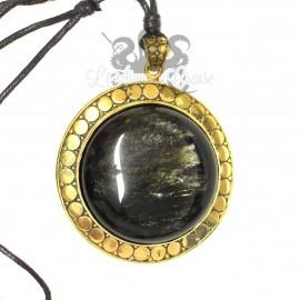 Collier en bronze & Obsidienne dorée