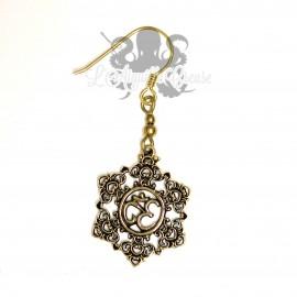 Paire de boucles d'oreilles en bronze Ohm