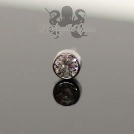 Accessoire en titane orné d'un cristal Swarovski Threadless