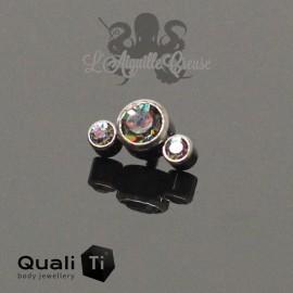Accessoire QualiTi en titane & 3 zircons Vitrail - pour 1.2 mm