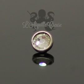 Accessoire pour bijou en 1.6 mm en acier chirurgical & cristal Swarovski - 4 mm