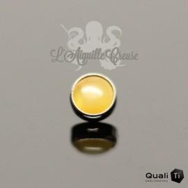 Cabochon d'Ambre jaune QualiTi en titane - pour 1.2 mm