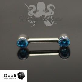 Bijou de téton QualiTi en titane & Zircons colorés - Threadless