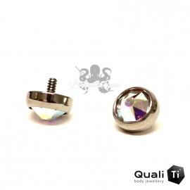 Accessoire QualiTi en zircon blanc irisé et titane - pour 1.2 mm