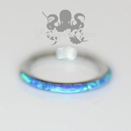 Anneau segmenté et opales synthétiques, ouverture facile