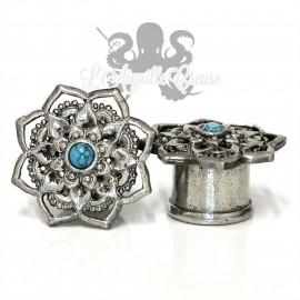 Plug en Bronze blanc & Turquoise